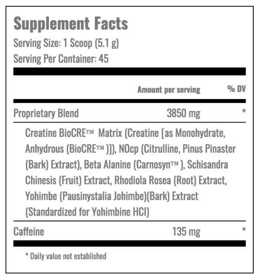 Пищевая ценность Jack3d USPLabs 230 g