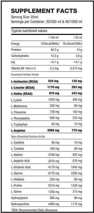 Питательная ценность Amino Liquid Formula от QNT